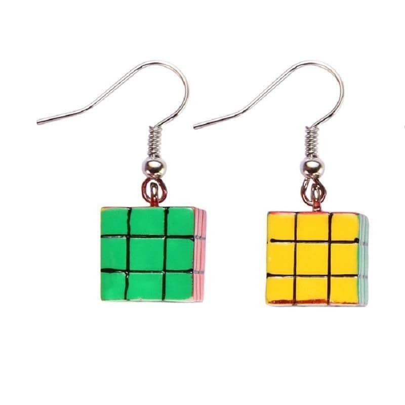 Puzzle Cube Drop Earrings