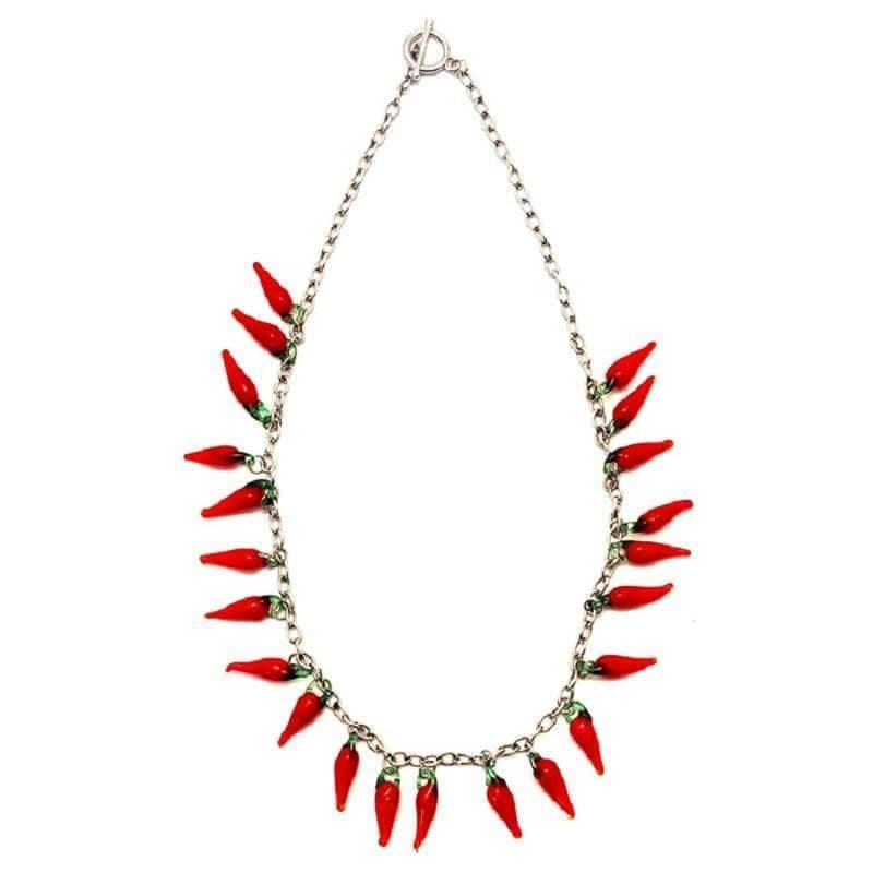 Red Hot Chilli Glass T-Bar Necklace