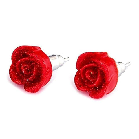 Red Rose Resin Stud Earrings with Dew Drops