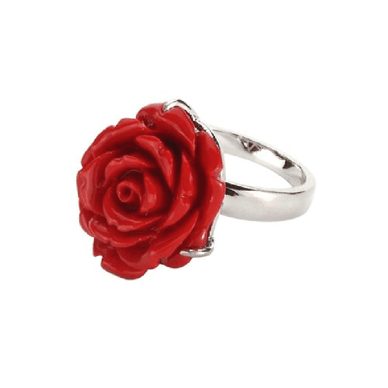Resin and Tin Alloy Red Rose Ring