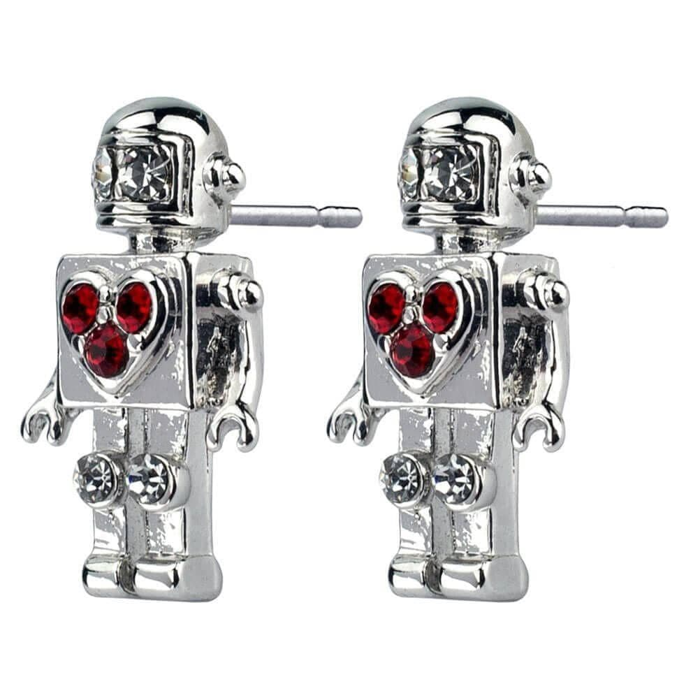 Retro Robot with Heart Stud Earrings