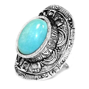 Shield Design Fashion Ring with Faux Turquoise Stone Inlay