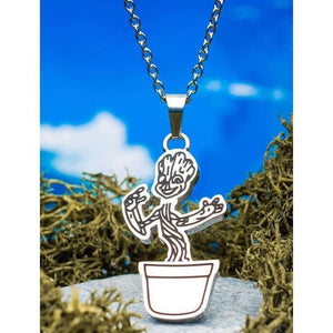 Stainless Steel Guardians of The Galaxy Groot with Plant Pot Pendant