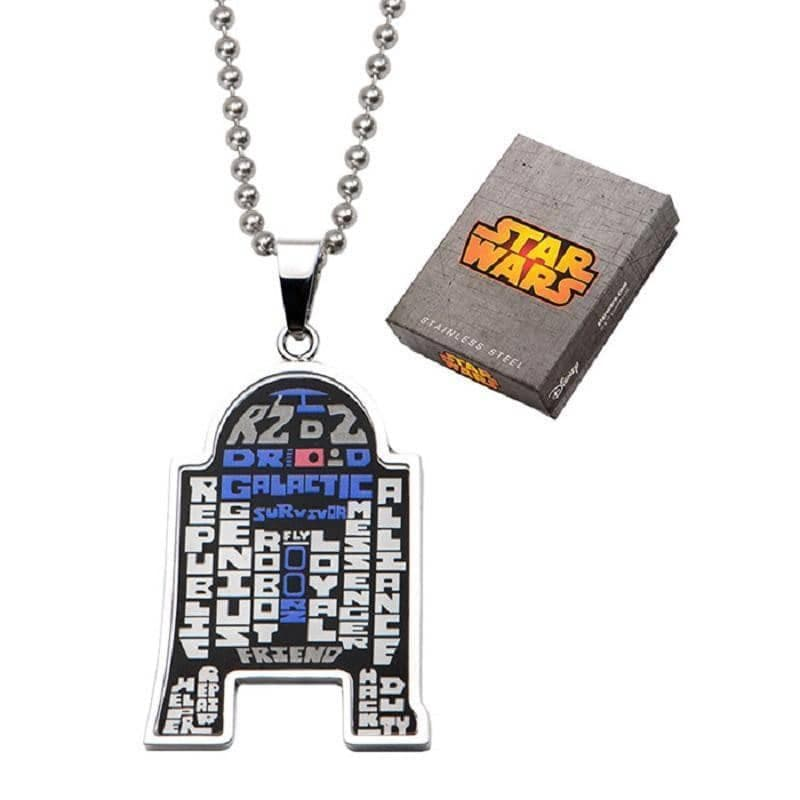 Stainless Steel R2-D2 Enamel Typography Art Pendant with 22