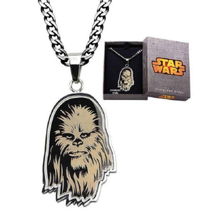 "Stainless Steel Star Wars Etched Chewbacca Pendant comes with 22"" Chain"