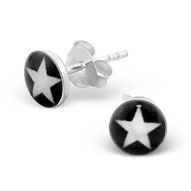 Star Design Rounded Sterling Silver Stud Earrings