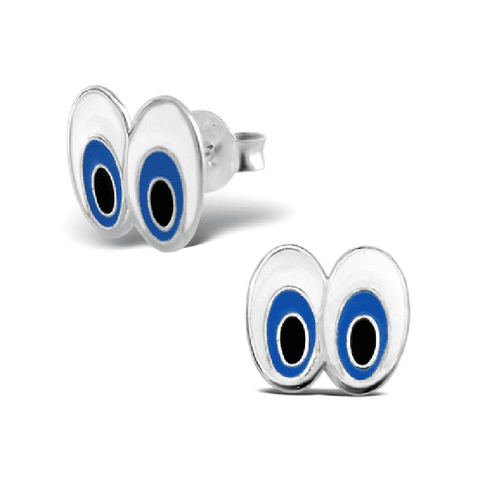 Sterling Silver Retro Cartoon Eyes Stud Earrings