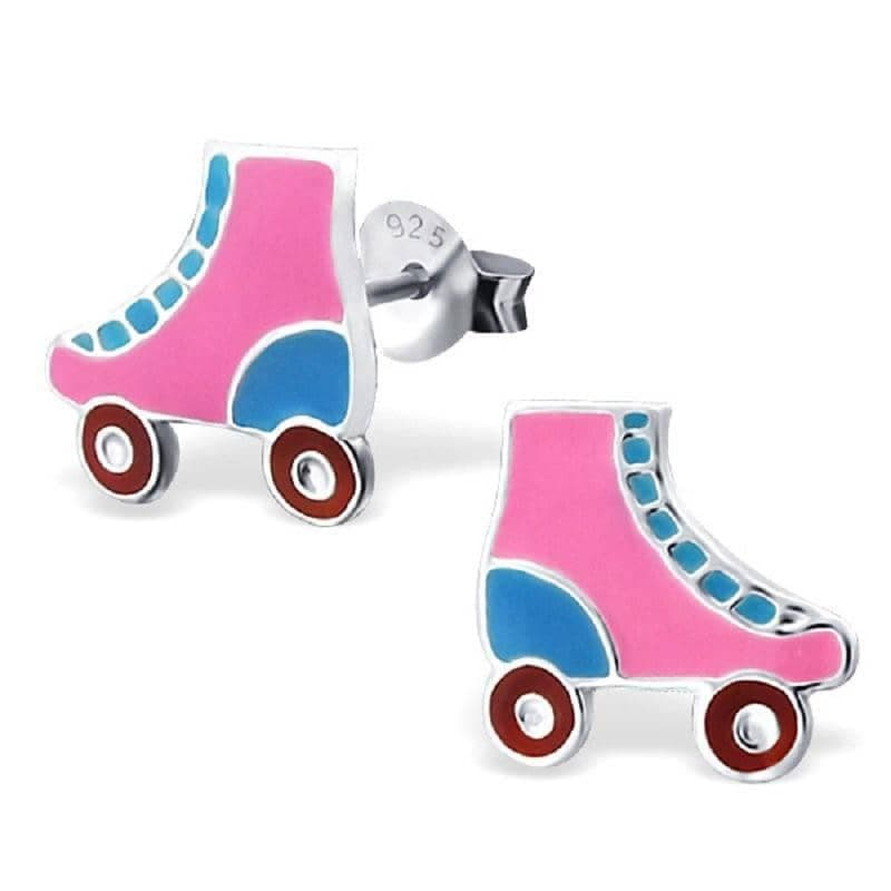 Sterling Silver Retro Roller Skates Stud Earrings
