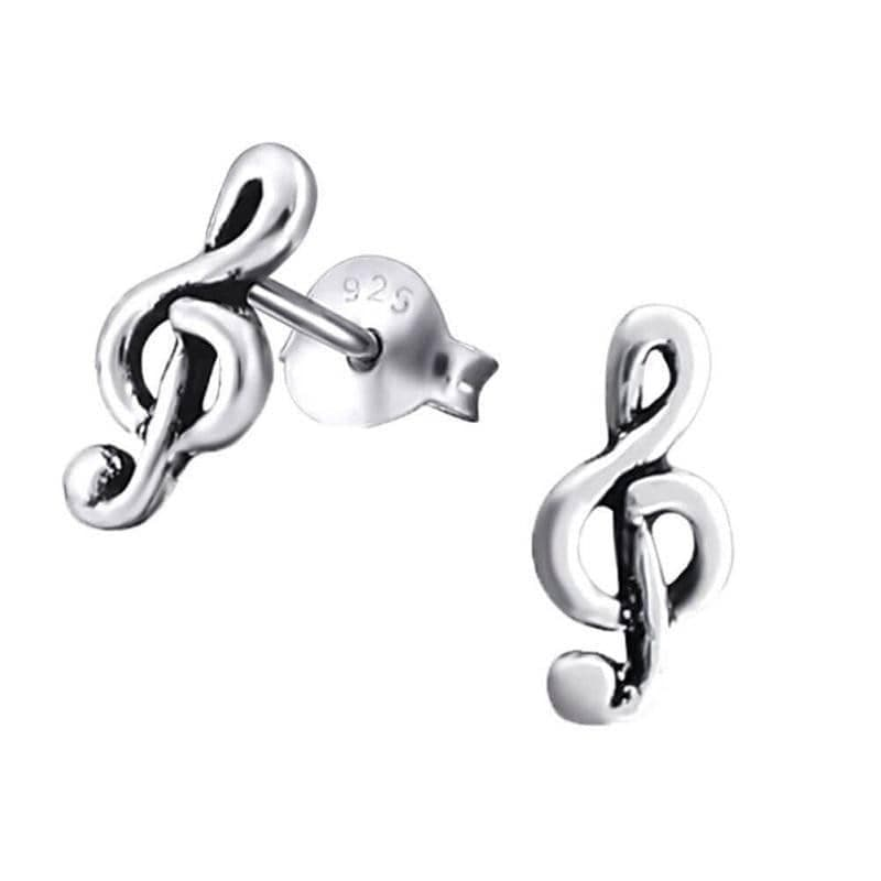 Sterling Silver Treble Clef Note Stud Earrings