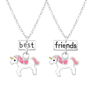 Sterling Silver Unicorn Best Friends Necklace Set