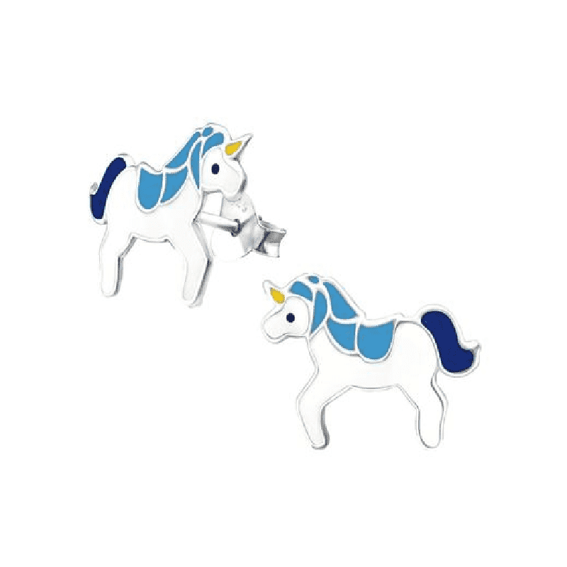 Sterling Silver Unicorn Studded Earrings