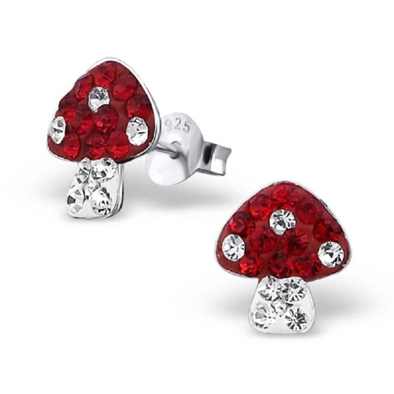 Sterling Silver and Crystal Toadstool Stud Earrings