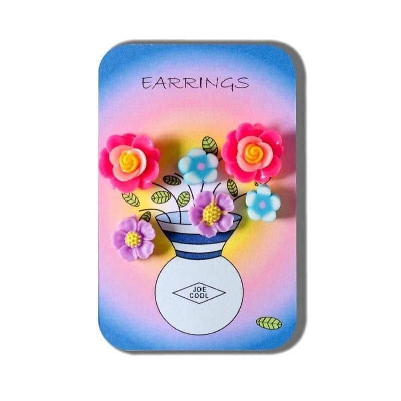Story Card of Fimo Flower Earrings (3 Pairs)