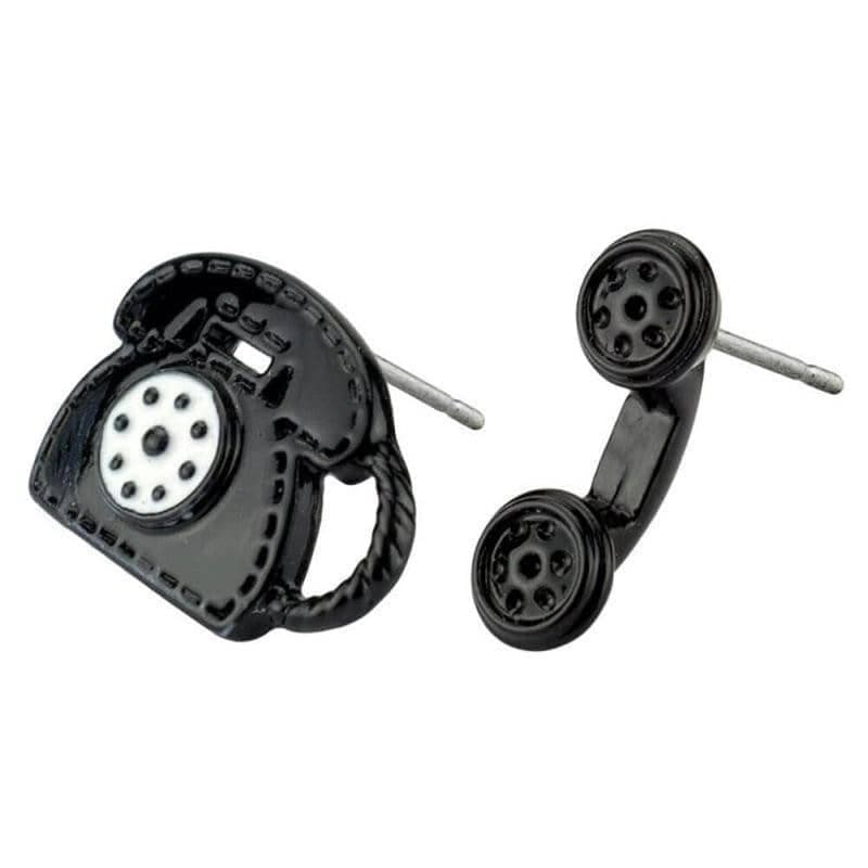 Telephone Black Studded Earrings