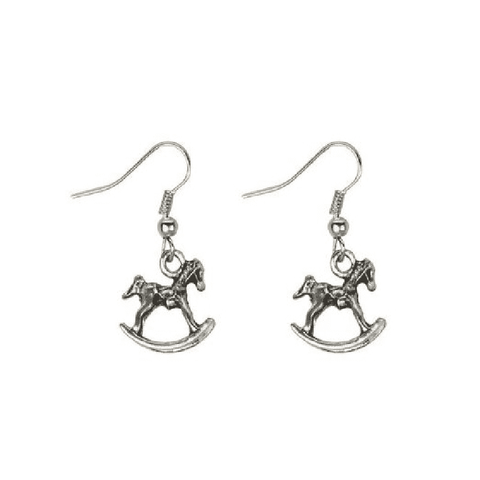 Tin Alloy Rocking Horse Drop Earrings
