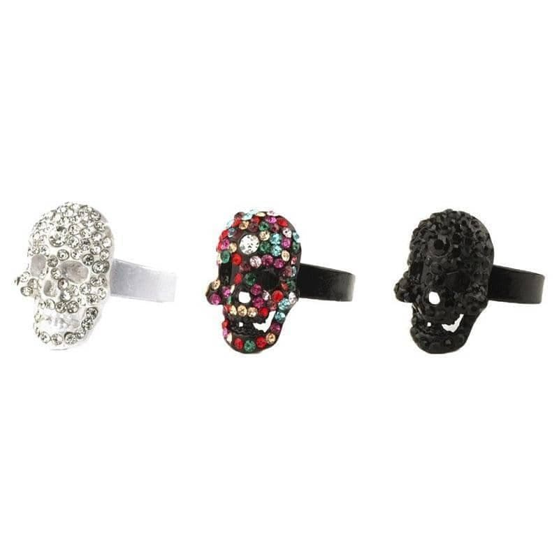 Tin Alloy and Crystal Glass Embedded Skull Adjustable Fashion Ring
