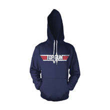 Load image into Gallery viewer, Top Gun Distressed Logo Navy Hoodie