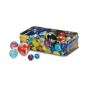 Traditional Set of 60 Glass Marbles in a Tin