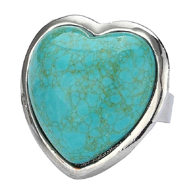 Turquoise Heart Adjustable Fashion Ring