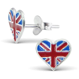 Union Jack Heart Sterling Silver Stud Earrings