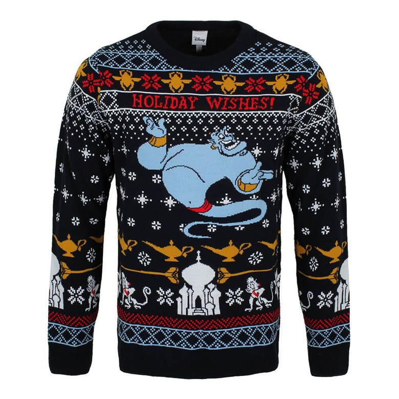 Front View of the Unisex Aladdin Genie Holiday Wishes Knitted Christmas Jumper