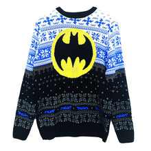 Load image into Gallery viewer, Front View of the Unisex DC Comics Batman Logo Knitted Christmas Jumper