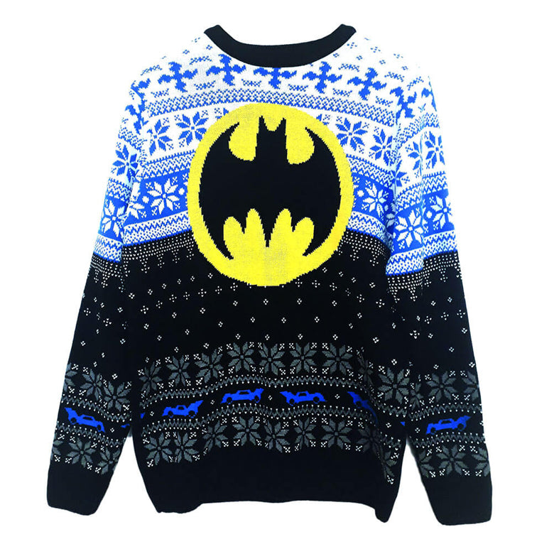 Front View of the Unisex DC Comics Batman Logo Knitted Christmas Jumper