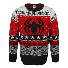 Load image into Gallery viewer, Front View of the Unisex Marvel Spider-Man Logo Knitted Christmas Jumper
