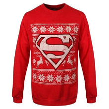 Load image into Gallery viewer, Unisex Red DC Comics Superman Christmas Jumper
