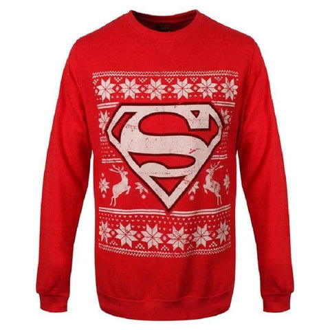 Unisex Red DC Comics Superman Christmas Jumper