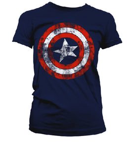 Women's Captain America Distressed Logo T-Shirt