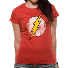 Load image into Gallery viewer, Women's The Flash Distressed Logo Fitted T-Shirt