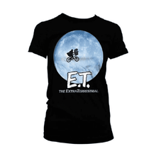 Load image into Gallery viewer, Women's E.T. Bike In The Moon Black T-Shirt