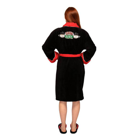 Female Model Showing the back design of the Friends Central Perk Black Fleece Dressing Gown