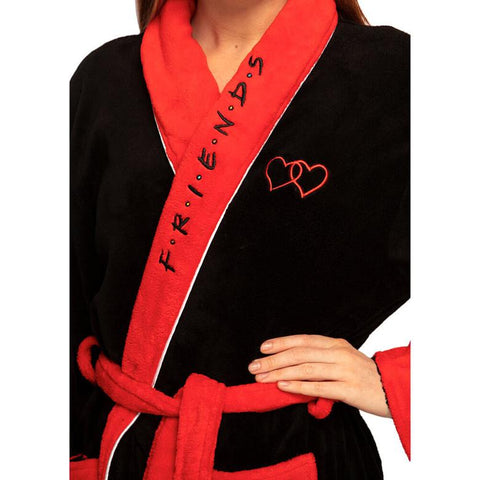 Female Model Showing the close up detailing of the Friends Central Perk Black Fleece Dressing Gown