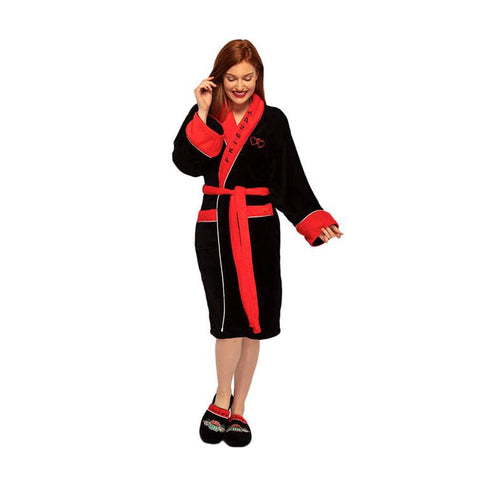 Female Model Showing the front design of the Friends Central Perk Black Fleece Dressing Gown