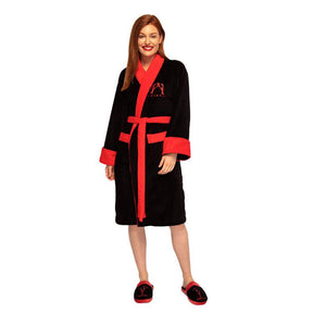Front View of the Women's Friends You Are My Lobster Fleece Dressing Gown