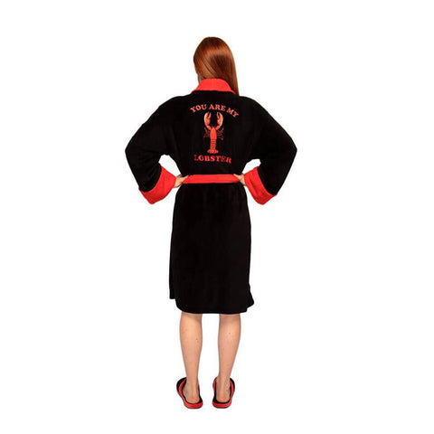 Back View of the Women's Friends You Are My Lobster Fleece Dressing Gown