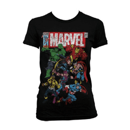 Women's Marvel Comics Team-Up Distressed T-Shirt
