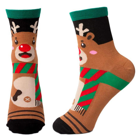Front and Side View of the Women's Cute Christmas Reindeer Crew Socks