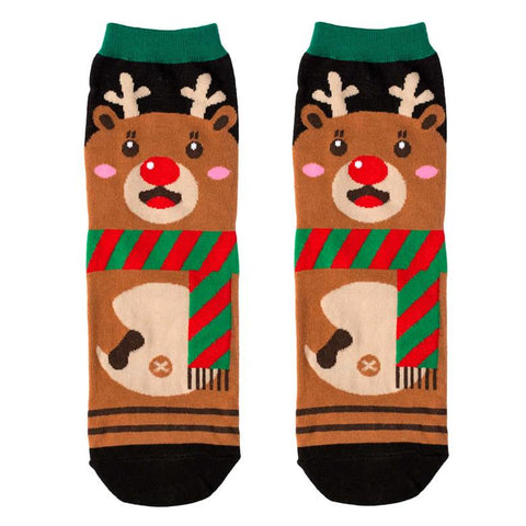 Front View of the Women's Cute Christmas Reindeer Crew Socks