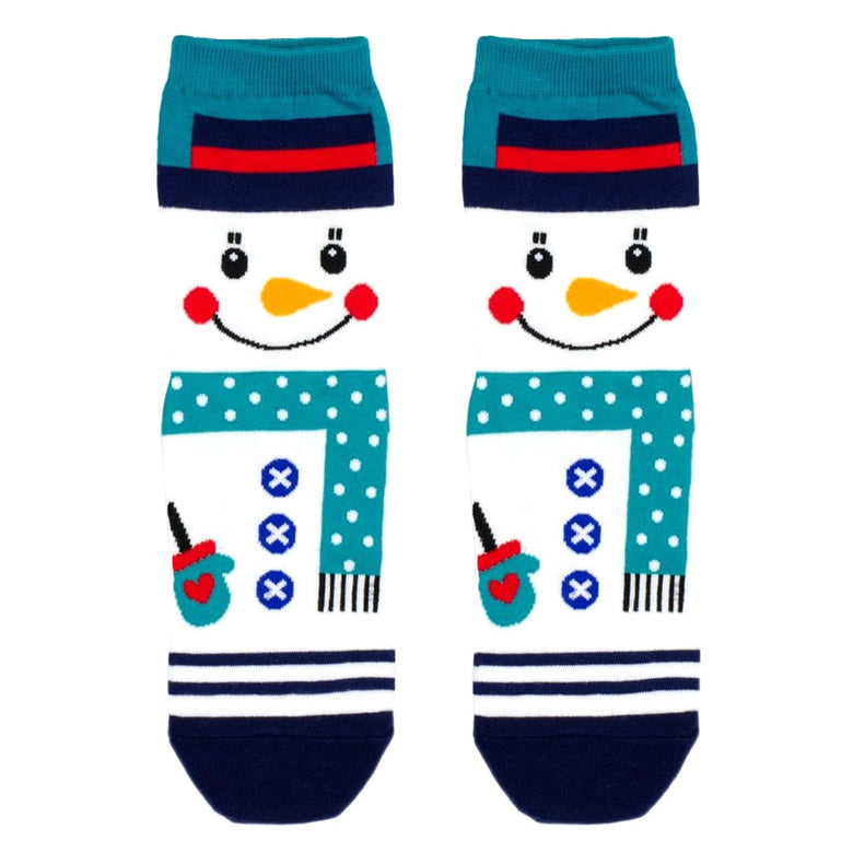 Front View of the Women's Happy Snowman Christmas Crew Socks