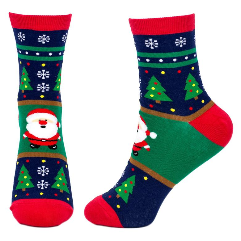 Front and Side View of the Women's Merry Christmas Santa Crew Socks