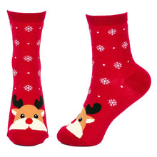 Load image into Gallery viewer, Front & Side View of the Women's Snow Scene Rudolf the Reindeer Christmas Crew Socks
