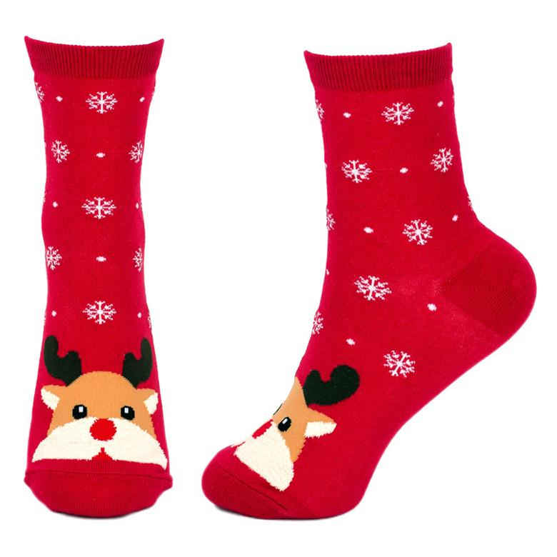 Front & Side View of the Women's Snow Scene Rudolf the Reindeer Christmas Crew Socks