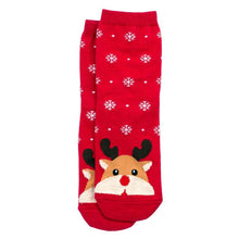Load image into Gallery viewer, Front View of the Women's Snow Scene Rudolf the Reindeer Christmas Crew Socks
