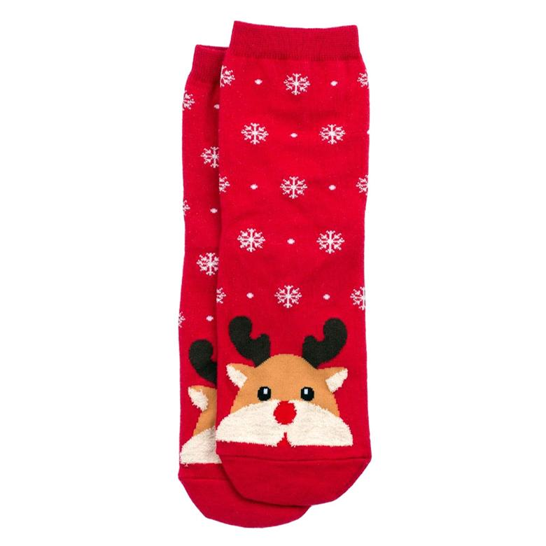 Front View of the Women's Snow Scene Rudolf the Reindeer Christmas Crew Socks
