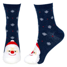 Women's Snow Scene Santa Christmas Crew Socks