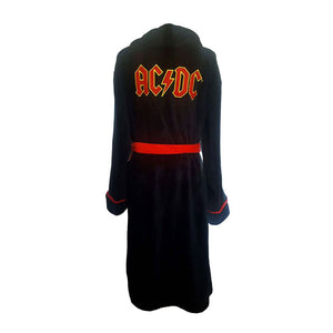 AC/DC Logo Black Adult Fleece Dressing Gown