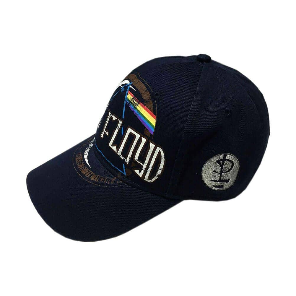 Front Side View of Pink Floyd Dark Side of the Moon Distressed Emblem Baseball Cap